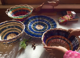 Our baskets. We each made two over the week.